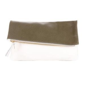 CLARE V. PERFORATED LEATHER FOLD-OVER CLUTCH